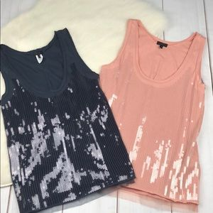LOT J. Crew Collection Sequined Raw Edge Tanks